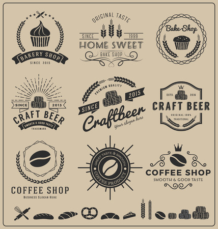 alcohol logo: Sets of bake shop, craft beer, coffee shop logo and insignia for branding, label, product packaging, letterpress and other design  Vector illustration and free font used