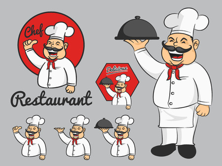 charactor: Happy chef cartoon mascot thumbs up and hold the dish. Design for restaurant, food menu and other design  Vector illustration