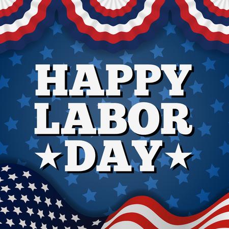 Happy American Labor Day Greeting Card Design.