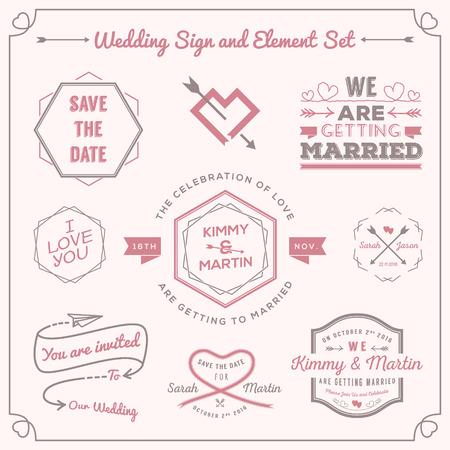 canvas print: Conjunto de celebraci�n de la boda insignia y se�al de elementos de decoraci�n de dise�o. Utilizar como invitaci�n, imagen social media, etiqueta, impresi�n de la lona de tipograf�a, tarjetas, propiedad y esas cosas.