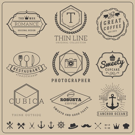 Linear thin line badge logo sets for Product label banner, Coffee shop, cafe, sea food restaurant, camera shop, restaurant, bakery shop  Vector illustration resize able and free font used 矢量图像