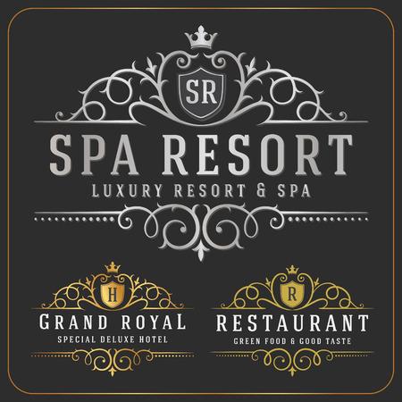 logos restaurantes: Lujoso Logo Royal Vector Re-considerable plantilla de dise�o adecuados para las empresas y nombres de productos, la industria de lujo como Resort, Spa, Hotel, Boda, Restaurante y Inmobiliaria. Vectores