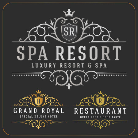 luxurious: Luxurious Royal Logo Vector Re-sizable Design Template Suitable For Businesses and Product Names, Luxury industry like Resort, Spa, Hotel, Wedding, Restaurant and Real estate.