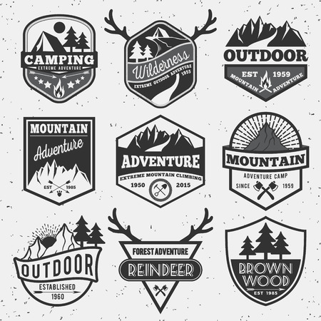 badge shield: Set of monochrome outdoor camping adventure and mountain badge logo, emblem logo, label design