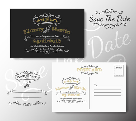 Vintage modern save the date postcard chalkboard style design with flourish calligraphy and free font used  Vector illustration