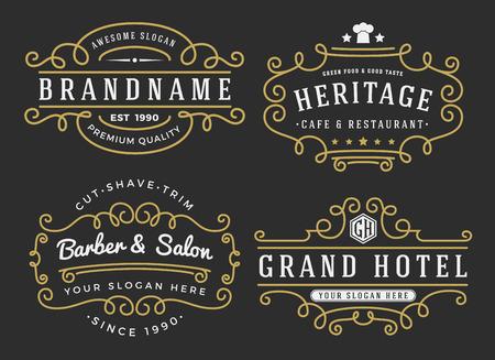 insignias: Marco de broche de oro para las etiquetas, bandera, logotipo, emblema, menú, etiqueta y otro diseño decorativo del flourishes caligráficos