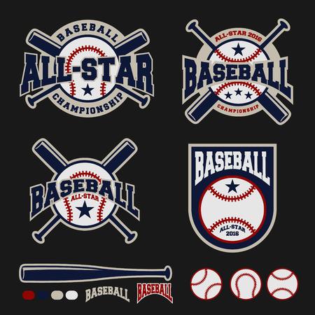 로고, 배지, 배너, 상징, 레이블, 휘장, T 셔츠 스크린 인쇄의 야구 배지 로고 디자인 일러스트