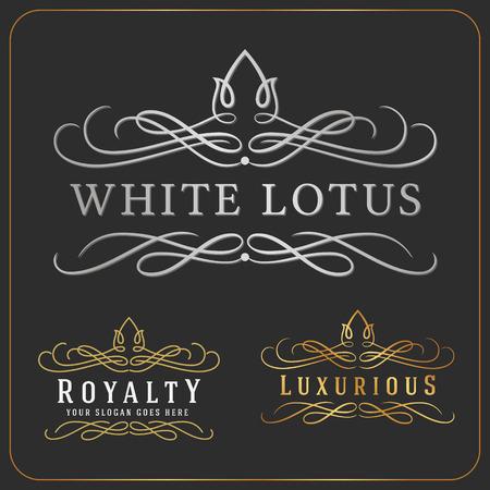 logotipos de restaurantes: Lujoso Logo Royal Vector Re-considerable plantilla de diseño adecuados para las empresas y nombres de productos, la industria de lujo como Resort, Spa, Hotel, Boda, Restaurante y Inmobiliaria. Vectores
