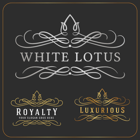 flourishes: Luxurious Royal Logo Vector Re-sizable Design Template Suitable For Businesses and Product Names, Luxury industry like Resort, Spa, Hotel, Wedding, Restaurant and Real estate.