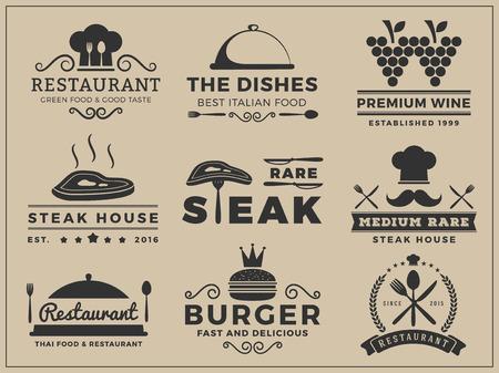 ロゴの記章設計レストラン、ステーキハウス、ワイン、ハンバーガー、食品メニュー、スタンプ、文字キー ベクトル イラスト使用することができる