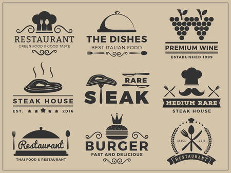Logo insignia design for Restaurant, Steak house, Wine, Burger, Food menu, Stamp, Letter press  Vector illustration resize able and free font used