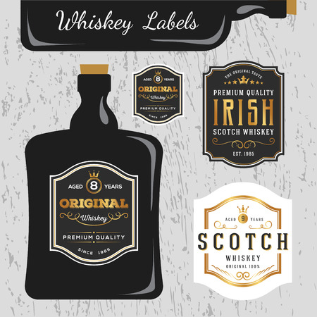 wine label: Whiskey Brands Label Design Template, Resize able and free font used.