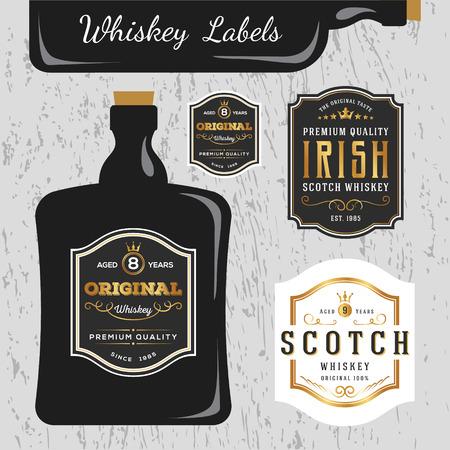etiqueta: Whisky marcas Etiqueta plantilla de diseño, cambiar el tamaño de la fuente capaz y libre usado. Vectores