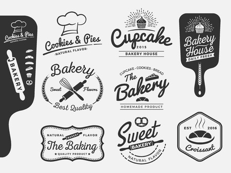 logotipos de restaurantes: Conjunto de panadería y pan logotipo etiquetas de diseño para los dulces tienda, panadería, pastelería, restaurante, tienda de pasteles ilustración vectorial Todos los tipos utilizados fuente libre de comerciales. Vectores