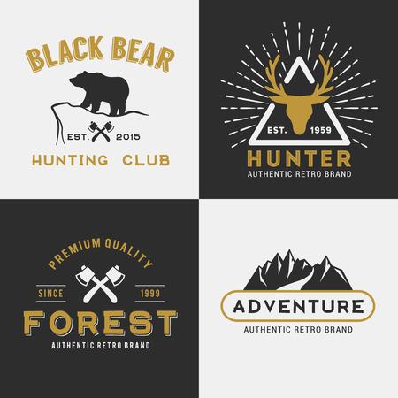 printing logo: Forest mountain adventure logo design for insignia, label, emblem, sticker, printing media  vector illustration Illustration