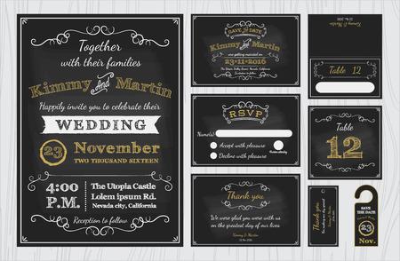 Los conjuntos de diseño de invitaciones de boda de pizarra vintage incluyen tarjeta de invitación, guardar la fecha, tarjeta de confirmación de asistencia, tarjeta de agradecimiento, número de tabla, etiquetas de regalo, tarjetas de lugar, tarjeta de respuesta, guardar el colgador de puerta de fecha Ilustración de vector