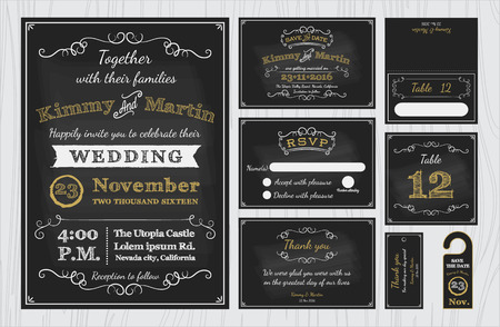 a wedding: Vintage Chalkboard Wedding Invitations design sets include Invitation card, Save the date, RSVP card, Thank you card, Table number, Gift tags, Place cards, Respond card, Save the date door hanger