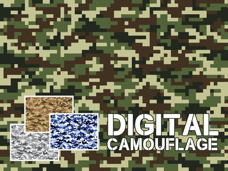 Four different colors digital camouflage military pattern for background, clothing, textile garment, wallpaper  Very easy to use, just click the camouflage pattern in color swatch