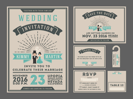 free place: Classic vintage sunburst wedding invitation design with couple cartoon. Collection Included RSVP card, Save the date card, Thank you card, Gift tags, Table place card.  All font types use free font Illustration