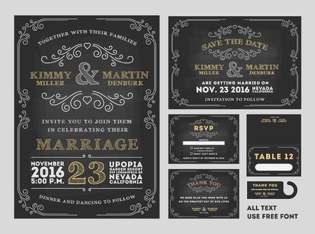 Vintage Chalkboard Mariage Invitations ensembles de conception comprennent la carte d'invitation, sauvent la carte de date, carte de RSVP, carte de remerciements, Numéro de table, étiquettes cadeaux, cartes d'endroit, Enregistrer le cintre date de porte Banque d'images - 43615603