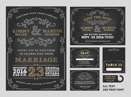 Vintage Chalkboard Wedding Invitations design sets include Invitation card, Save the date card, RSVP card, Thank you card, Table number, Gift tags, Place cards, Save the date door hanger. Stock Photo