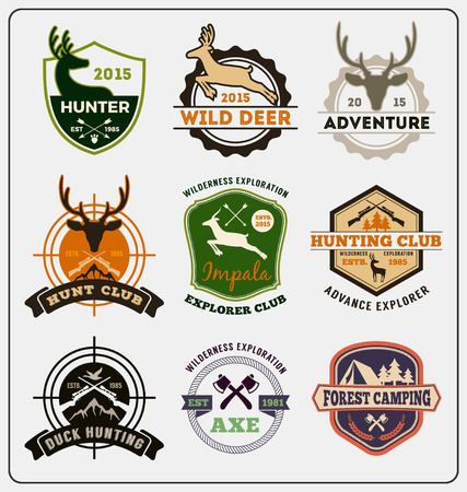 deer hunting: Set of hunting and adventure badge design for emblem , label design, insignia, sticker Vector illustration resize able and all types use free font Illustration