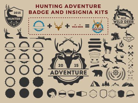 fusil de chasse: Chasse et insigne d'aventure kits d'éléments d'icône pour le créateur. Camping conception d'illustration de vecteur Illustration