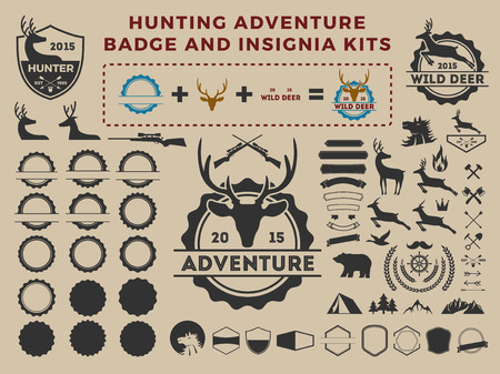 Hunting and adventure badge icon element kits for creator. camping vector illustration design