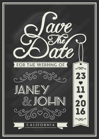 ビンテージのウェディング招待状の黒板をテーマにタイポグラフィと繁栄、ラインアートと日付カード テンプレートのデザインを保存します。