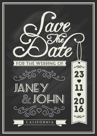 Save the date card template design with typography and flourish line art on chalkboard theme for vintage wedding invitation