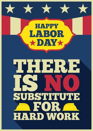 幸せな労働者の日の引用」がないハードワークに置き換えて長い影とアメリカのお祝いパーティー ベクトル イラスト デザインのアメリカのビンテ