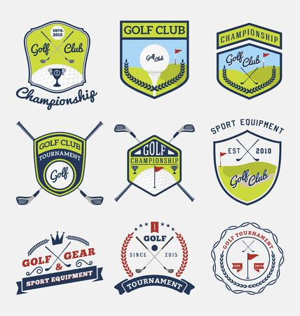 club: Set of golf club, golf championship, golf gear and equipment badge logo  Vector illustration