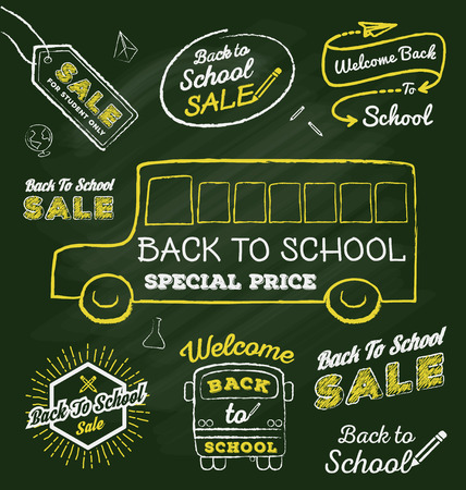 special education: Back to school doodle label set on chalkboard  Sale promotion label and elements  Vector illustration