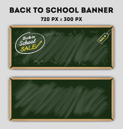 school board: Blank green color chalkboard banner background.for web banner and SALE Promotion and other design