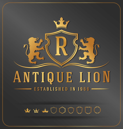 Luxurious Lions Royal Crest Vector Design Template Suitable For Businesses   and Product Names, Luxury industry like Resort, Spa, Hotel, Jewelry, Wedding, Restaurant and Real estate.