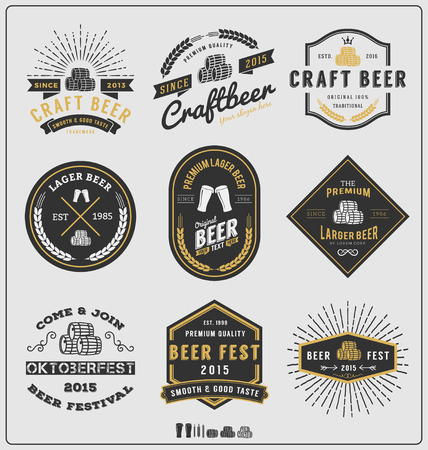 glasses of beer: Set of vintage beer badge   and labels template design.Vector illustration
