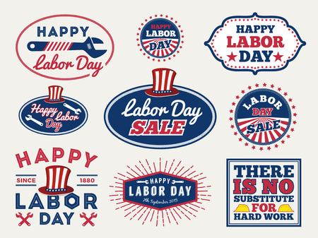 Sets of Labor day badge and labels design. for sale promotion, party decoration, vector illustration Çizim