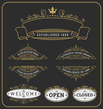 crown: Set of vintage frame and labels design for banner, tags, sticker, stamp and other design. Vector illustration