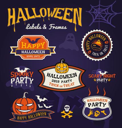 spider web: Set of Halloween party labels and frames design. Vector illustration Illustration
