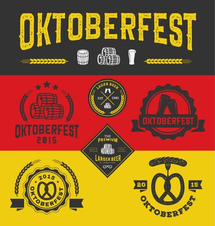 drunk party: Oktoberfest badge logo and labels set for product and decorative element, Vector illustration