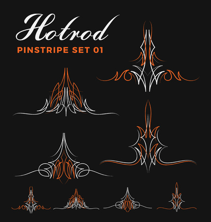 hotrod: Set of vintage pin striping line art. include un-expand path. use for vinyl sticker, painting template, tattoo. Vector illustration