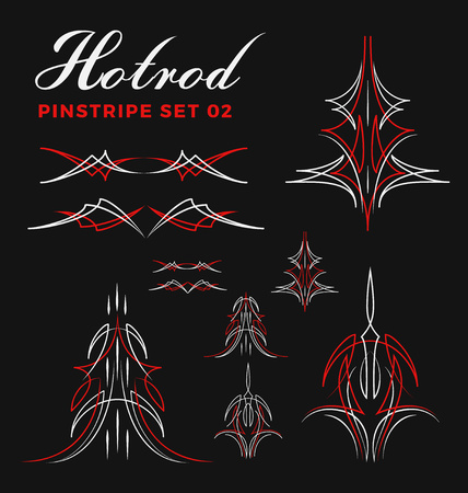 Set of vintage pin striping line art. include un-expand path. use for vinyl sticker, painting template, tattoo. Vector illustration