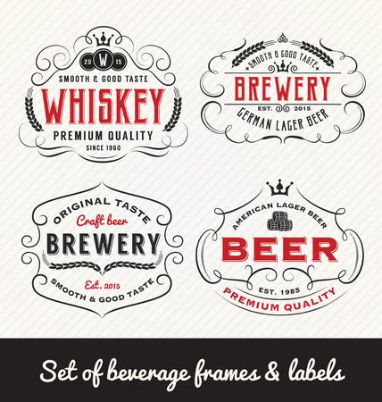 Classic Vintage Beverage Frame and Labels Design. Vector illustration Illustration