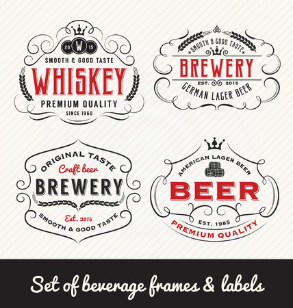 Classic Vintage Beverage Frame and Labels Design. Vector illustration Çizim
