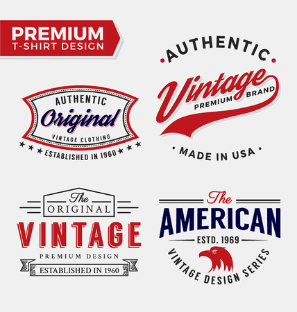 apparel: Set Of Premium Apparel T-Shirt Design. Vector illustration