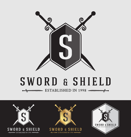 sward: Modern Vintage Sward and Shield Logo Crest Design. Vector Illustration Logotype Template. Suitable for Protection concept, Strong Concept, Safe concept