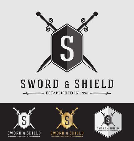 shield: Moderno Sward Vintage y Escudo Logo Dise�o de la cresta. Ilustraci�n vectorial Logotype Template. Adecuado para el concepto de protecci�n, concepto fuerte, el concepto de seguridad Vectores