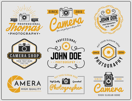 photography logo: Set of two tone colors photography and camera service logo insignia design vector illustration