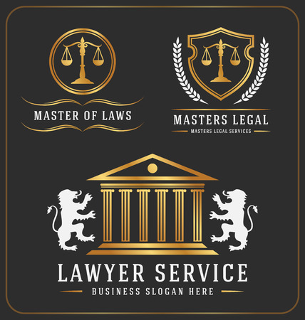 justicia: Conjunto de servicios abogado diseño del logotipo plantilla de oficinas. Ilustración vectorial