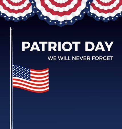 patriot: Patriot day, We Will Never Forget web banner and background design with wavy flag. Vector illustration